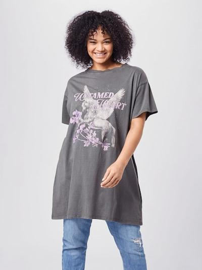 Cotton On Curve Shirt in hellgrau / dunkelgrau / pastelllila, Modelansicht