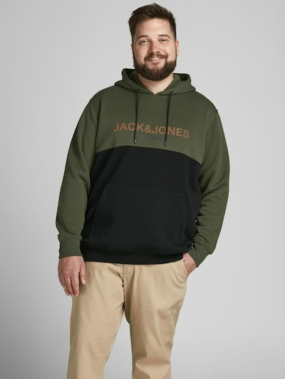 Jack & Jones Plus Sweatshirt in dunkelgrün / orange / schwarz: Frontalansicht