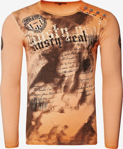 Rusty Neal Langarmshirt mit coolem Front- Print in orange: Frontalansicht