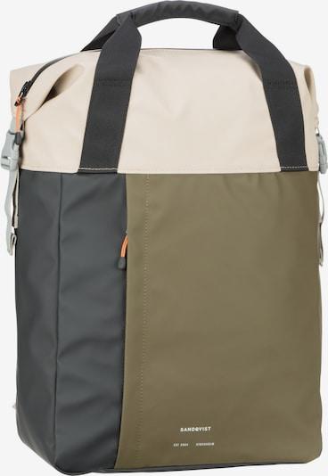 SANDQVIST Rucksack 'Atle' in sand / oliv / schwarz, Produktansicht