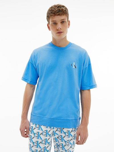 Pijama lungă Calvin Klein Underwear pe albastru / negru / alb, Vizualizare model