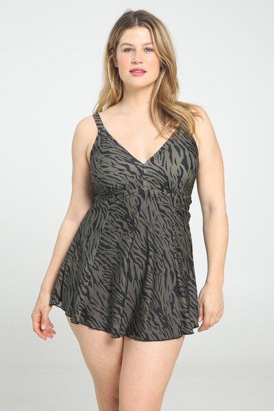 Paprika Badekleid in khaki, Modelansicht