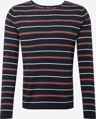 JACK & JONES Пуловер 'BLASONT' в нейви синьо / ръждиво червено / бяло, Преглед на продукта