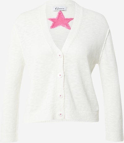 Grace Gebreid vest 'Stern' in de kleur Pink / Offwhite, Productweergave