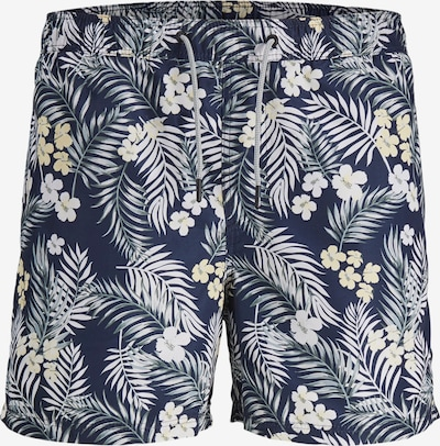 JACK & JONES Plavecké šortky - námornícka modrá / žltá / jedľová / biela, Produkt