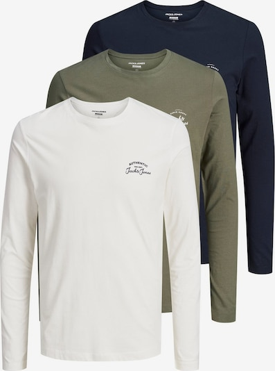 JACK & JONES Shirt in de kleur Nachtblauw / Olijfgroen / Wit, Productweergave