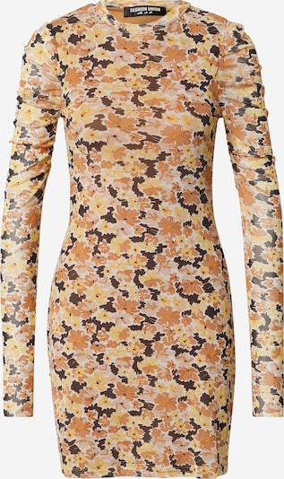 Fashion Union Kleid 'AMBER' in honig / pfirsich / hummer / hellorange, Produktansicht