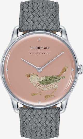 August Berg Uhr 'MORRIS & CO Silver Bird Grey Perlon 38mm' in grau / pink, Produktansicht