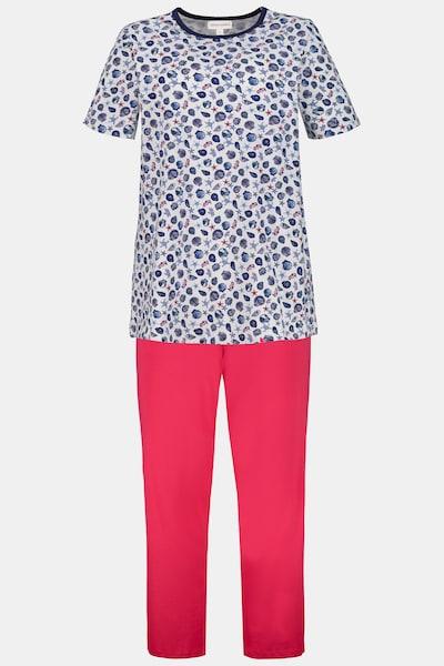 Gina Laura Pyjama in blau / koralle / weiß, Produktansicht