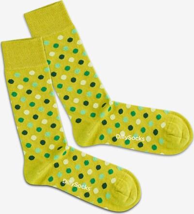 DillySocks Ponožky 'Leafy Confetti' - horčicová / zelená / svetlozelená, Produkt