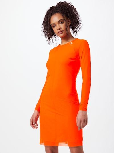 Calvin Klein Jeans Šaty - svítivě oranžová / bílá, Model/ka