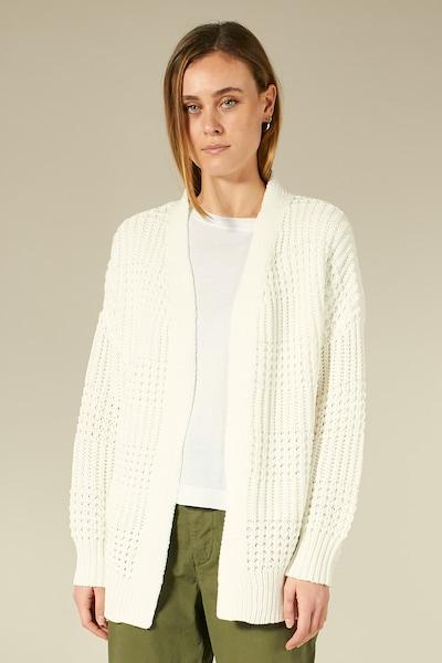 BLOOM Strickjacke mit grobem Muster in weiß, Modelansicht