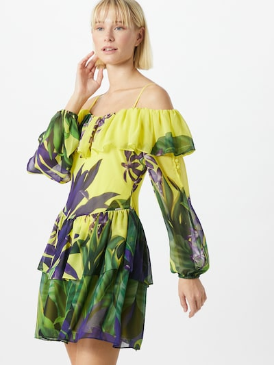 GUESS Kleid in gelb / dunkelgrün / lila, Modelansicht