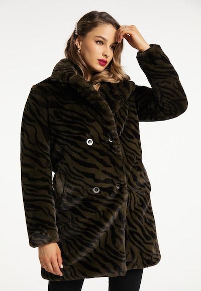 faina Wintermantel in khaki / schwarz, Modelansicht