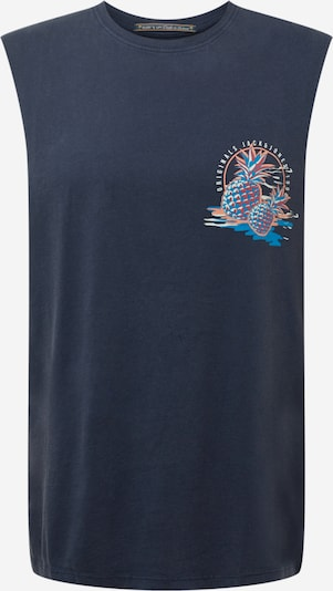 JACK & JONES T-Shirt 'TROPICANACARD' en bleu / bleu marine / orange pastel / rouge / blanc, Vue avec produit