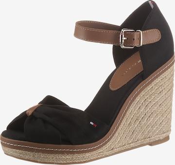 Sandale cu baretă de la TOMMY HILFIGER pe negru