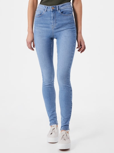 PIECES Jeans 'High Five' in de kleur Blauw denim, Modelweergave