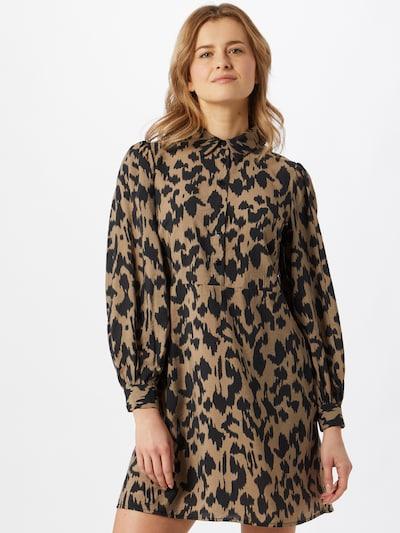 OBJECT Robe-chemise 'Marcela' en marron / noir, Vue avec modèle
