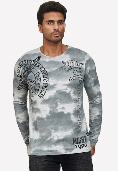 Rusty Neal Cooles Longsleeve mit angesagtem Allover-Print in grau: Frontalansicht