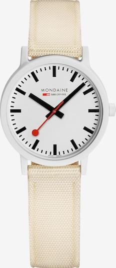 Mondaine Uhr in beige / schwarz / weiß, Produktansicht