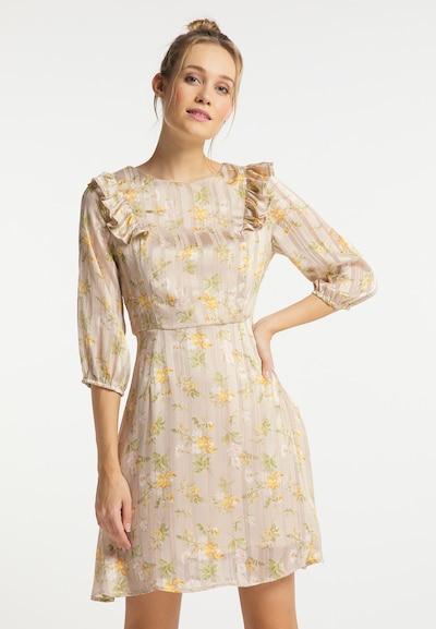 DreiMaster Vintage Kleid in beige / gelb / grün, Modelansicht