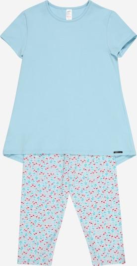 Skiny Pyjama in türkis / aqua / himmelblau / weiß, Produktansicht