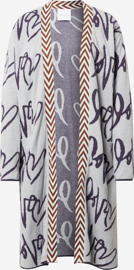 DELICATELOVE Gebreid vest 'Anna' in de kleur Oker / Grijs / Donkerlila, Productweergave