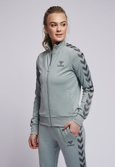 Hummel Trainingsjacke in grau / dunkelgrau: Frontalansicht