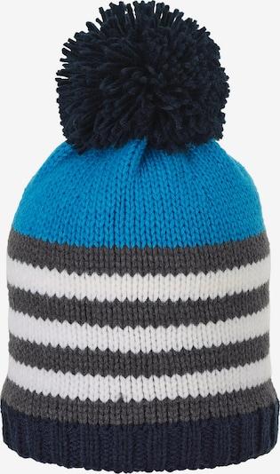 Megzta kepurė iš STERNTALER , spalva - mėlyna / tamsiai mėlyna / tamsiai pilka / balta, Prekių apžvalga