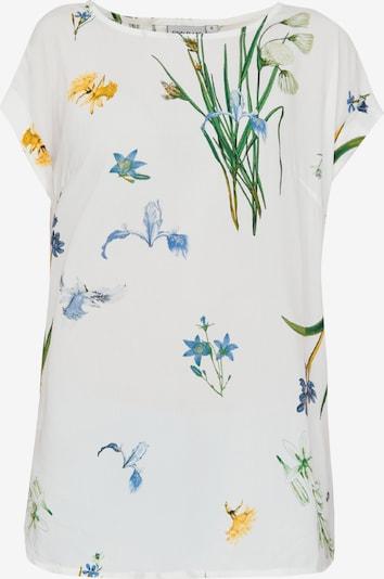 Finn Flare Kurzarmbluse mit Blumendruck in weiß, Produktansicht