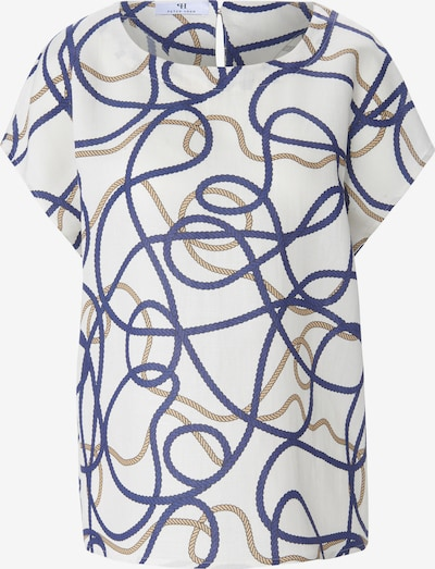 Peter Hahn Blouse in de kleur Sand / Royal blue/koningsblauw / Wit, Productweergave