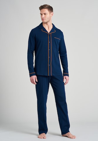SCHIESSER Pikk pidžaama 'Fashion Nightwear', värv sinine