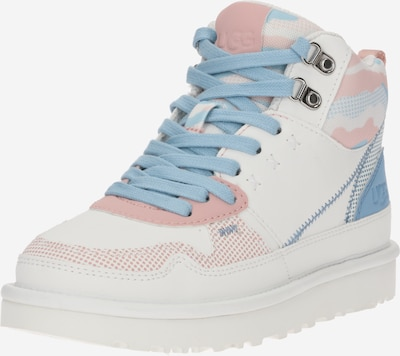 UGG Baskets hautes 'HIGHLAND' en bleu clair / rose / blanc, Vue avec produit