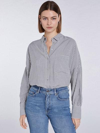 SET Bluse in dunkelgrau / weiß, Modelansicht