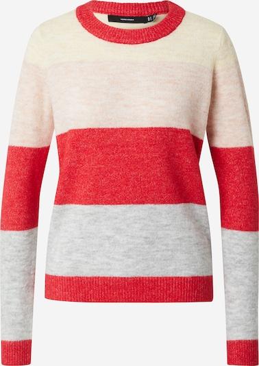 VERO MODA Pulover 'PLAZA' u roza / crvena / bijela, Pregled proizvoda