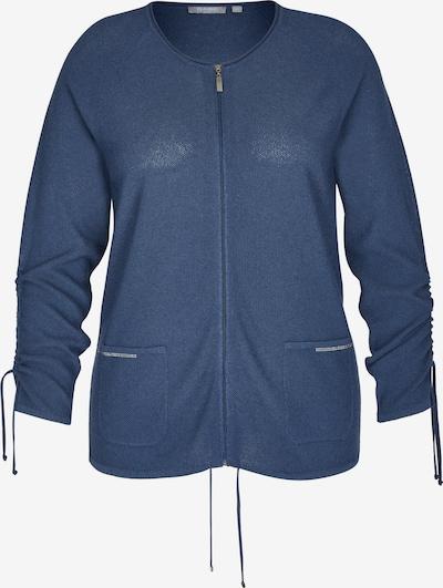 Rabe Strickjacke mit Schmucksteinen und Reißverschluss in blue denim, Produktansicht