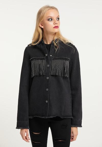 myMo ROCKS Blouse in black denim, View model