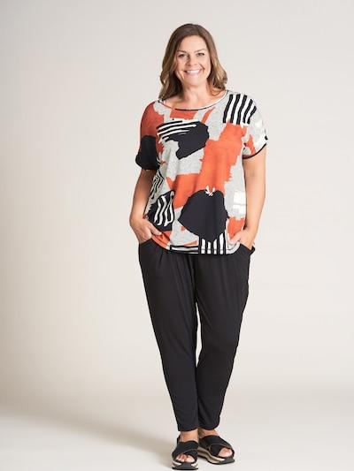 GOZZIP Shirt 'Gitte' in grau / orange / schwarz: Frontalansicht