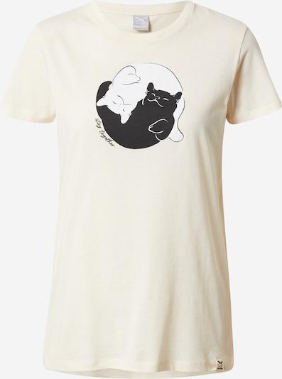 Iriedaily Shirt 'Yi Ya Cat' in pastellgelb / schwarz / weiß, Produktansicht