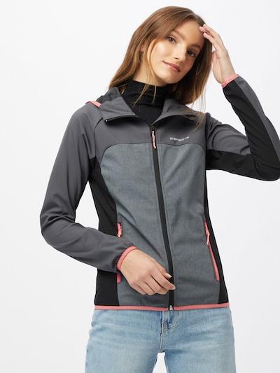 ICEPEAK Outdoorová bunda 'DECORAH' - tmavosivá / sivá melírovaná / svetloružová / čierna: Pohľad spredu