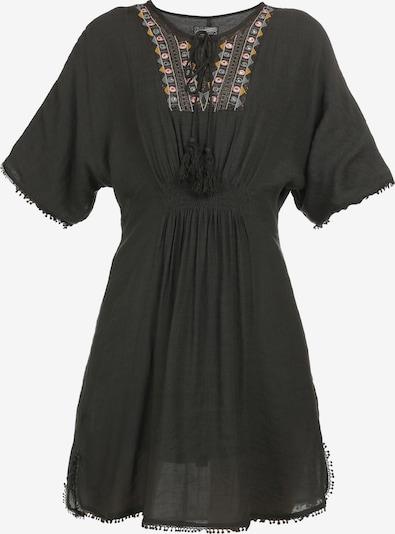 DreiMaster Vintage Kleid in taubenblau / dunkelgelb / dunkelgrün / rosa, Produktansicht