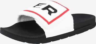 HUNTER Šľapky - červená / čierna / biela: Pohľad spredu