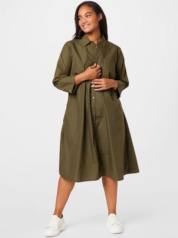 KAFFE CURVE Shirt Dress 'KCanica Shirt Dress' in Green