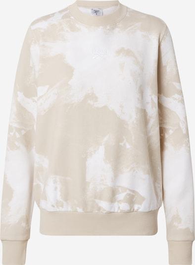 Reebok Sport Sportsweatshirt in hellbeige / weiß, Produktansicht