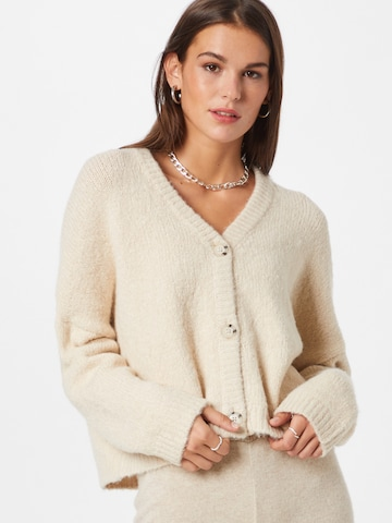 ABOUT YOU Knit Cardigan 'Leoni' in Beige