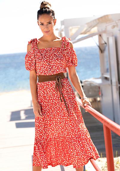 VIVANCE Večerné šaty - červená / biela, Model/-ka