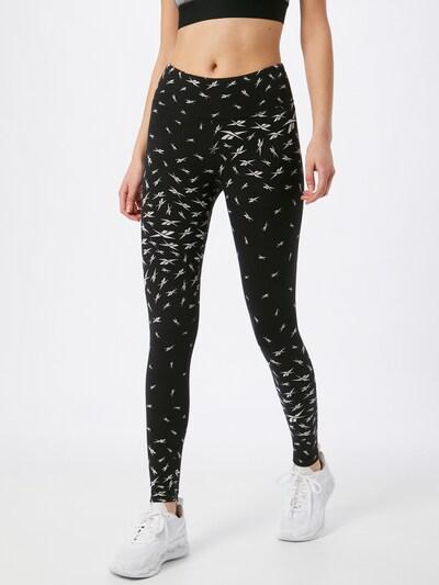 REEBOK Sportovní kalhoty 'TE Vector AOP' - černá / bílá, Model/ka