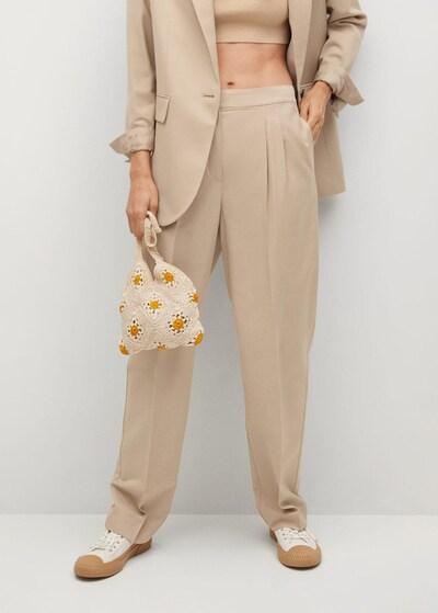 MANGO Bundfaltenhose in beige, Modelansicht