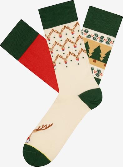 Cheerio Skarpety 'Ugly Chtistmas/ Funky Santa' w kolorze kremowy / jasnobrązowy / jodła / mieszane kolory / jasnoczerwonym, Podgląd produktu