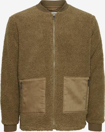 !Solid Fake Fur Jacke in Braun